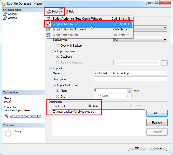 SQL Management Studio -> Back Up Database dialog