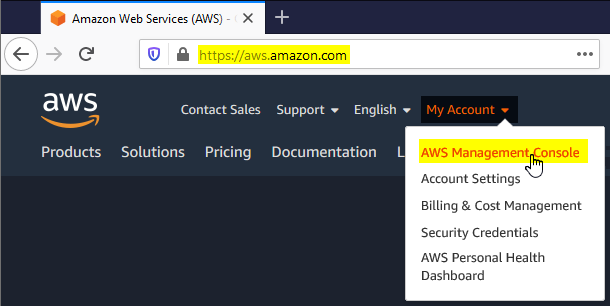 sign-in to aws console