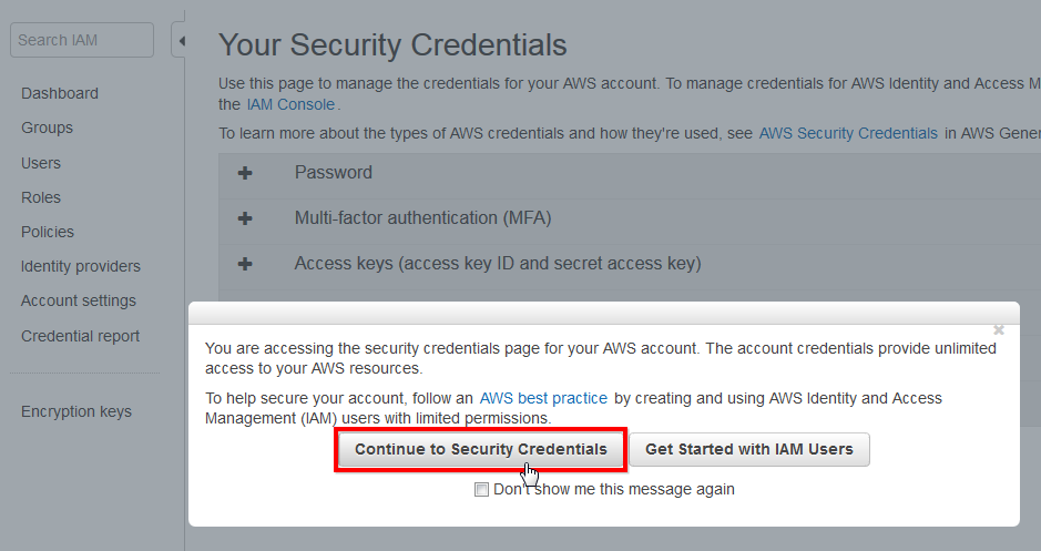 continue to security credentials